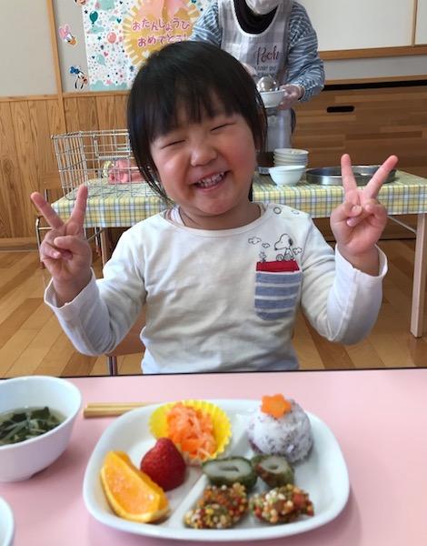 娘3歳の誕生日で、保育園の誕生会。